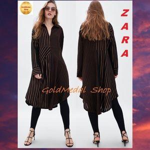 ZARA Contrasting Strips New Dress Black/Brown S; M